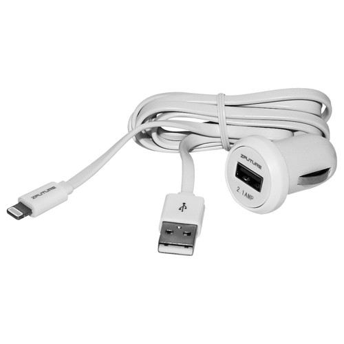 Zfuture Car Charger with USB Cable for iPhone, iPod, and iPad (2.1A, 5')