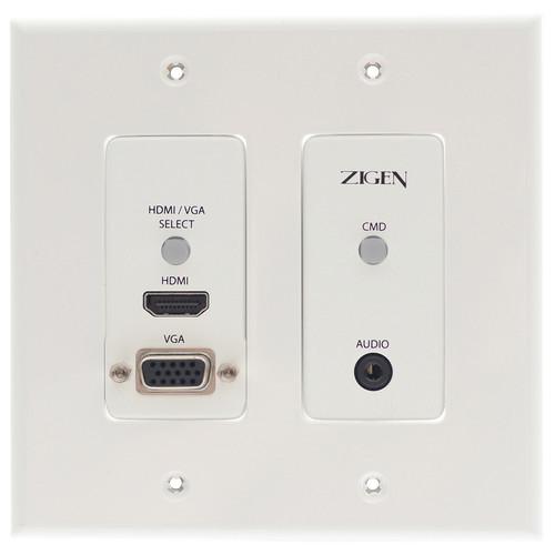 Zigen HDMI & VGA Auto-Switching HDBaseT PoE Wall Plate Transmitter