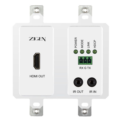 Zigen HDBaseT PoE Wallplate Receiver with IR & RS-232 (230')