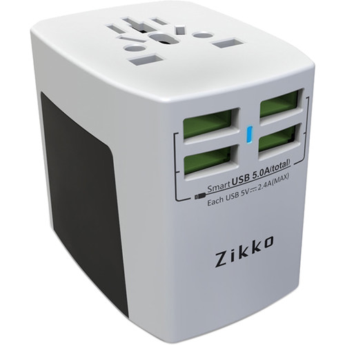 Zikko 25W 4-Port USB Type-A Worldwide Travel Adapter