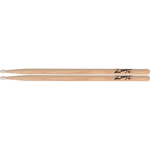 "Zildjian 2B 16"" Hickory Drumsticks with Oval Tip & Medium Taper (Nylon Tip, Natural)"
