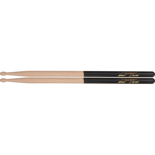 "Zildjian 2B Hickory Drumsticks with Oval Wood Tips (16"", Black DIP, 1 Pair)"