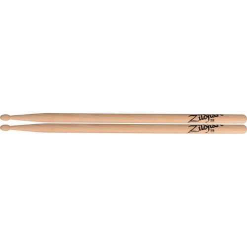 "Zildjian 2B Hickory Drumsticks with Oval Wood Tips (16"", Natural, 1 Pair)"
