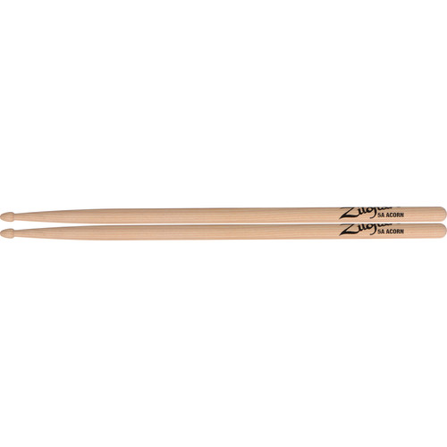 "Zildjian 5A Hickory Drumsticks with Acorn Wood Tips (16"", Natural, 1 Pair)"