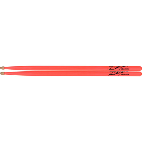 "Zildjian 5A Hickory Drumsticks with Acorn Wood Tips (16.25"", Neon Pink, 1 Pair)"
