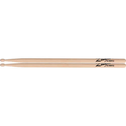 "Zildjian 5A Maple Drumsticks with Oval Wood Tips (16"", Natural, 1 Pair)"
