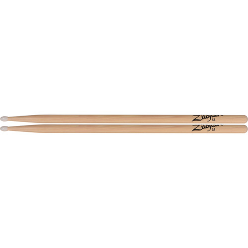 "Zildjian 5A Hickory Drumsticks with Oval Nylon Tips (16"", Natural, 1 Pair)"