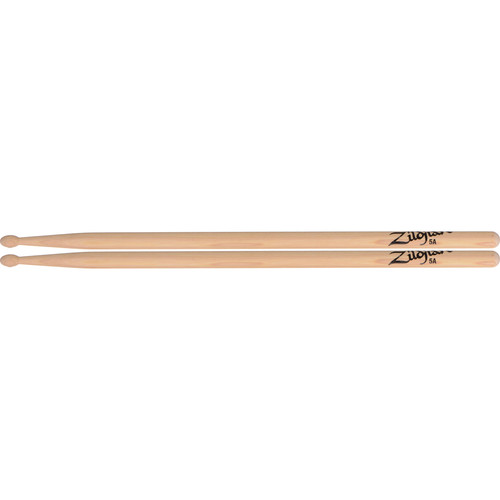 "Zildjian 5A Hickory Drumsticks with Oval Wood Tips (16"", Natural, 1 Pair)"