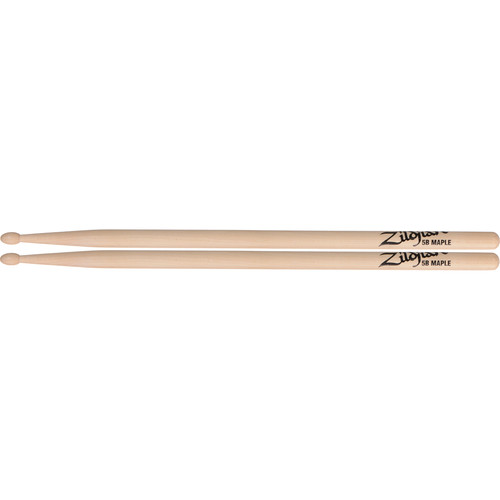 "Zildjian 5B Maple Drumsticks with Tear-Drop Wood Tips (16"", Natural, 1 Pair)"