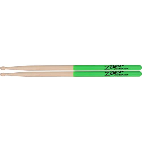 "Zildjian 5B Maple Drumsticks with Tear-Drop Wood Tips (16"", Green DIP, 1 Pair)"