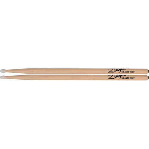 "Zildjian 5B Hickory Drumsticks with Tear-Drop Nylon Tips (16"", Anti-Vibe, 1 Pair)"