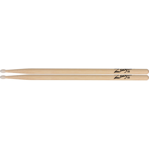 "Zildjian 5B Hickory Drumsticks with Tear Drop Nylon Tips (16"", Natural, 1 Pair)"