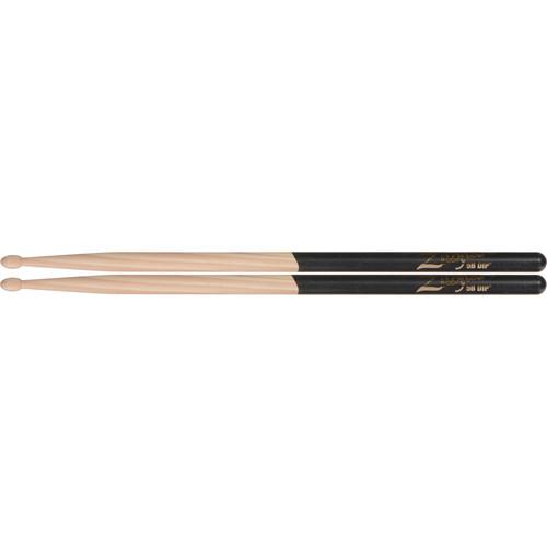 "Zildjian 5B Hickory Drumsticks with Tear Drop Wood Tips (16"", Black DIP, 1 Pair)"