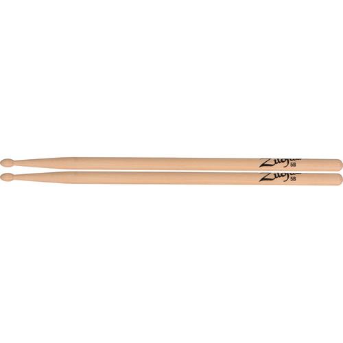 "Zildjian 5B Hickory Drumsticks with Tear Drop Wood Tips (16"", Natural, 1 Pair)"