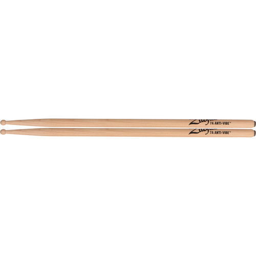 "Zildjian 7A Hickory Drumsticks with Round Wood Tips (15.5"", Anti-Vibe, 1 Pair)"