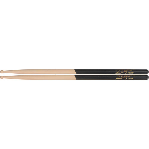 "Zildjian 7A Hickory Drumsticks with Round Wood Tips (15.5"", Black DIP, 1 Pair)"