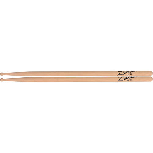 "Zildjian 7A Hickory Drumsticks with Round Wood Tips (15.5"", Natural, 1 Pair)"
