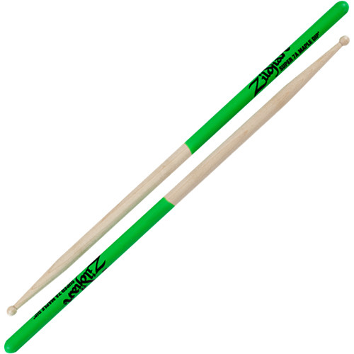 "Zildjian Super 7A Maple Drumsticks with Wood Round Tips (16"", Green DIP, 1 Pair)"