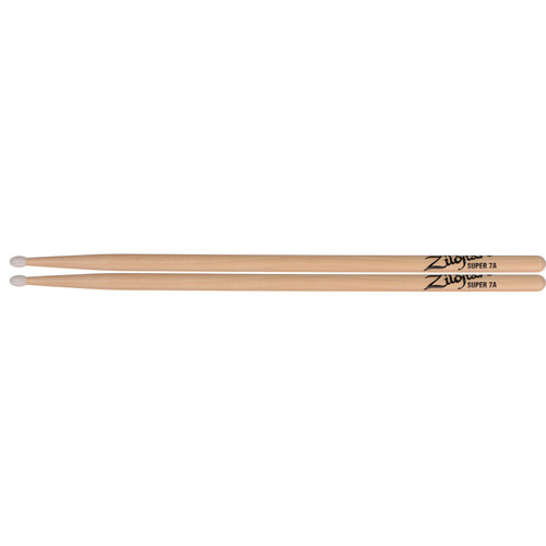 "Zildjian Super 7A Hickory Drumsticks with Nylon Round Tips (16"", Natural, 1 Pair)"