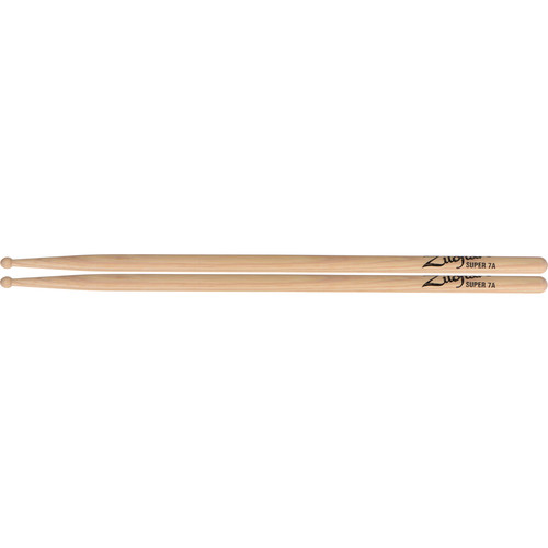 "Zildjian Super 7A Hickory Drumsticks with Wood Round Tips (16"", Natural, 1 Pair)"