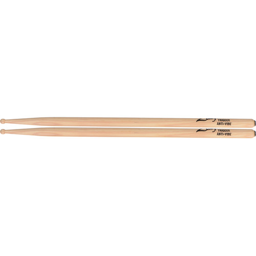 "Zildjian Trigger Anti-Vibe Hickory Drumsticks with Wood Round Tip (16"", Natural, 1 Pair)"