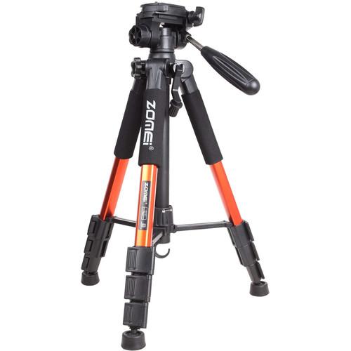 ZOMEi Q111 Aluminum Tripod with 3-Way Pan-Tilt Head (Orange)