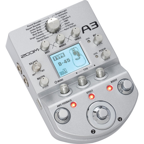 Zoom A3 Preamp and Effects Pedal for Acoustic Guitar