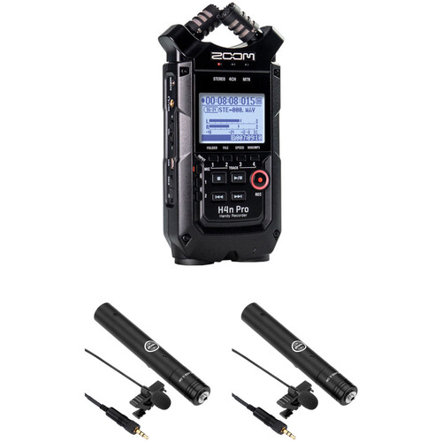 Zoom H4n Pro 2-Person Interview Kit with Lav Mics (Black)
