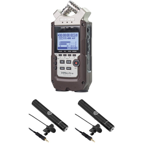 Zoom H4n Pro 2-Person Interview Kit with Lav Mics (Dark Brown)