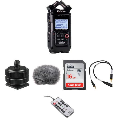 Zoom H4n Pro 4-Input / 4-Track Recorder and On-Camera DSLR Audio Kit (Black)