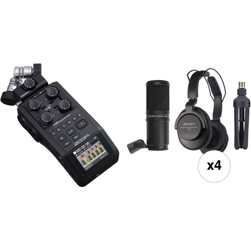 Zoom H6 All Black 4-Person Podcast Mic Kit with Handy Recorder, Mics, Headphones & Stands