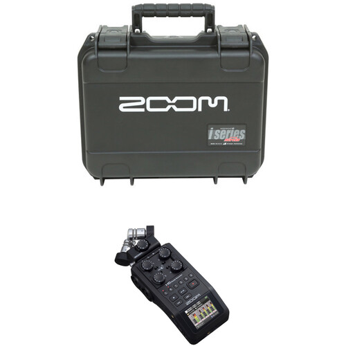 Zoom H6 All Black Handy Recorder with Interchangeable Microphone System and Waterproof Case Kit