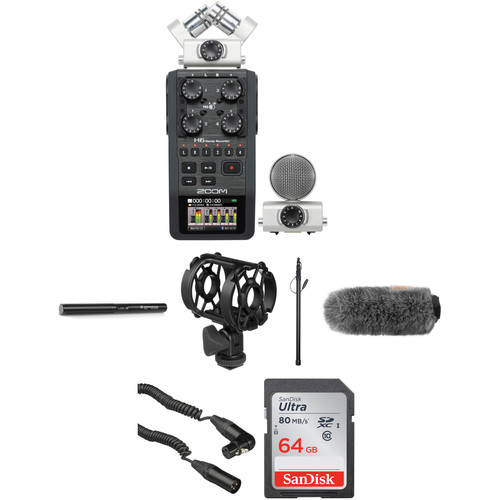 Zoom H6 Portable Recorder Kit with Sennheiser MKE 600 Shotgun Mic and Boompole