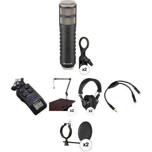 Zoom H6 Recorder Podcast Kit with Two Rode Procaster Microphones