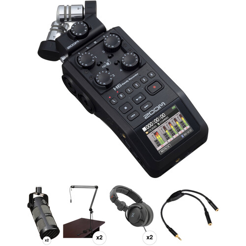 Zoom H6 Recorder Podcast Kit with Two MXL BCD-1 Broadcast Microphones