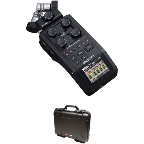Zoom H6 All Black Handy Recorder with Waterproof Case Kit