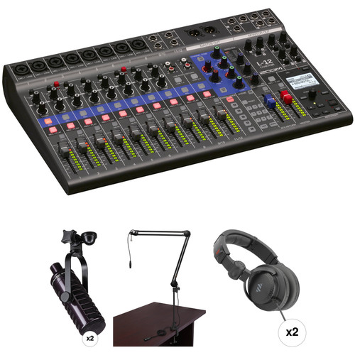 Zoom LiveTrack L-12 Mixer/Recorder Podcast Kit with Two MXL BCD-1 Broadcast Mics