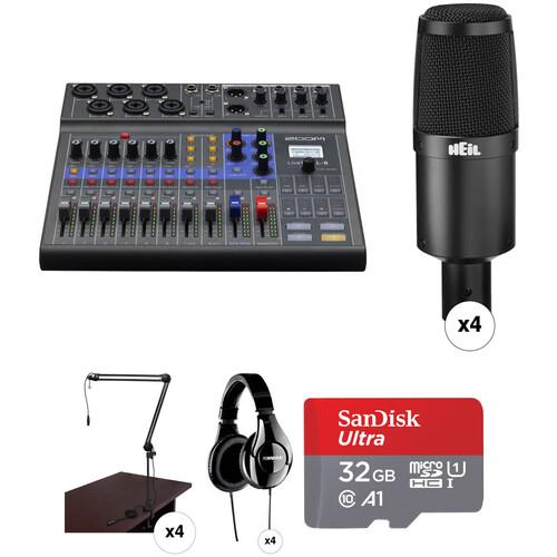 Zoom LiveTrak L-8 Four-Person Podcast Kit with Heil Sound PR 30B Microphones