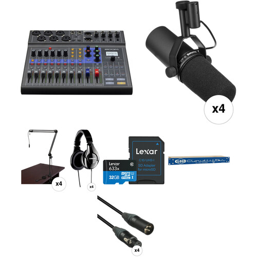 Zoom LiveTrak L-8 Four-Person Podcast Kit with Shure SM7B Microphones