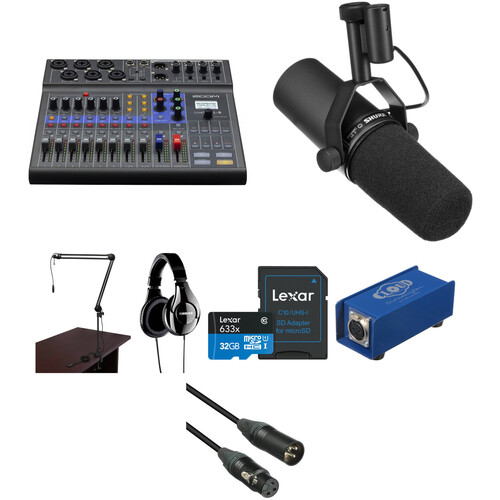 Zoom LiveTrak L-8 Solo Podcast Kit with Shure SM7B Microphone