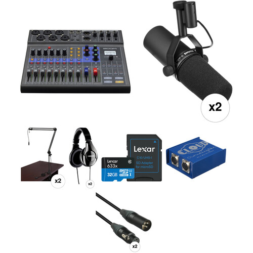 Zoom LiveTrak L-8 Two-Person Podcast Kit with Shure SM7B Microphones