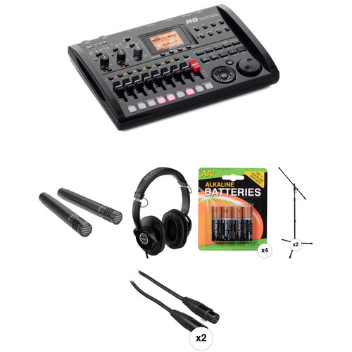 Zoom R8 Recorder/Sampler/Drum Machine and Stereo-Mic Recording Package Kit