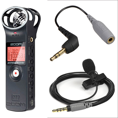 Zoom H1 Ultra-Portable Recorder (Black) and Rode SmartLav Condenser Mic Kit