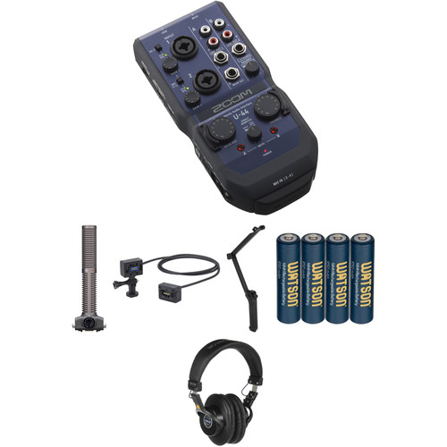 Zoom U-44 Audio Recording Bundle with Remote Shotgun Microphone Functionality