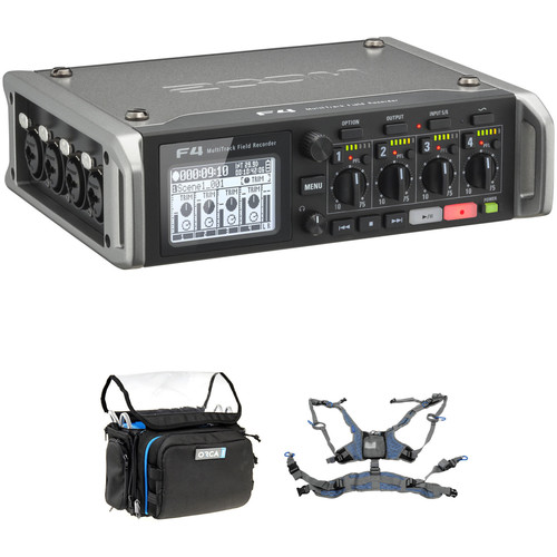 Zoom F4 Multitrack Field Recorder Kit with ORCA OR-28 Mini Bag & Harness