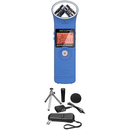 Zoom H1 Audio Recorder and Accessory Kit (Blue)