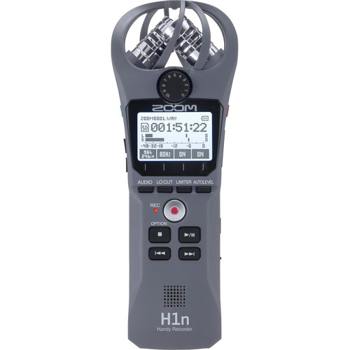 Zoom H1n 2-Input / 2-Track Portable Handy Recorder with Onboard X/Y Microphone (Gray)