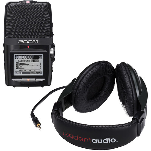 Zoom H2n Handy Recorder Kit with Resident Audio R100 Headphones