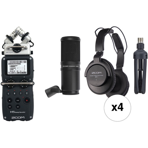 Zoom H5 4-Person Podcast Mic Kit with Handy Recorder, Mics, Headphones & Stands