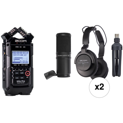 Zoom H4n 2-Person Podcast Mic Kit with Handy Recorder, Mics, Headphones & Stands